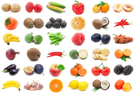 Collection of various fruits and vegetables isolated on white background