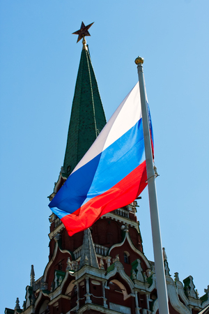 federation: Russian flag on  background of blue sky Stock Photo