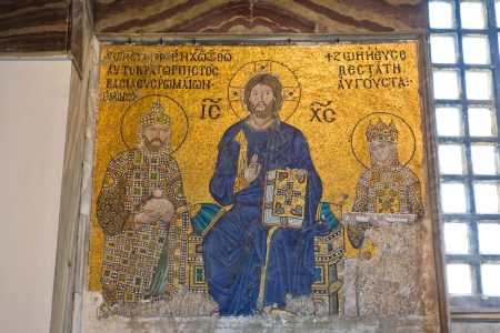 Byzantine wall mosaic in Hagia Sophia, Istanbul Editorial