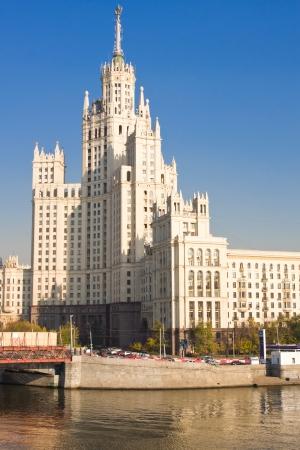 kotelnicheskaya embankment: Beautiful view of soviet skyscraper Kotelnicheskaya Embankment Building, Moscow, Russia