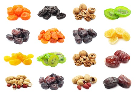 Collection of dried fruits isolated on white  photo