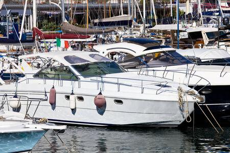 Yachts in beautiful marina of Mergellina zone, Naples, Italy photo