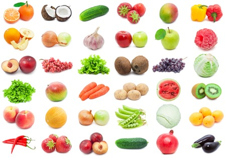 Collection of various fruits and vegetables isolated on white  photo