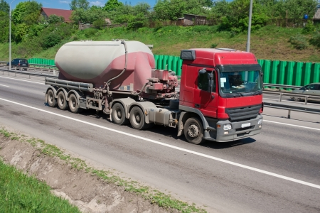 Beautiful photo of big truck on highway photo