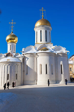 ensemble: Beautiful and ancient  cathedral in monastery of Sergiev Posad, Russia