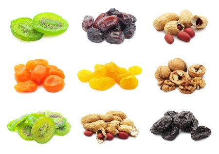 Collection of dried fruits isolated on white background photo