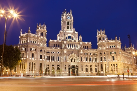 Central Post Office - Palacio de Comunicaciones at Cybele's Square, Madrid, Spain.
