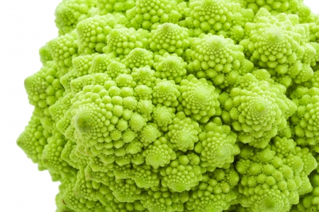 Green Romanesco broccoli isolated on white background photo