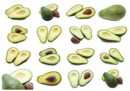 Collection of  fresh green avocado isolated on white background photo