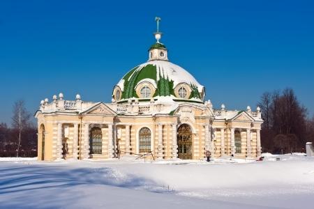 kuskovo: Grotto pavilion in park Kuskovo, Moscow, Russia