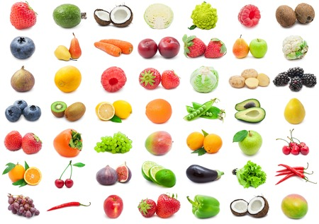 Collection of various fruits and vegetables isolated on white background photo