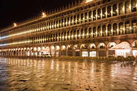 Beautiful night view of famous San Marco square in Venice, Italy photo