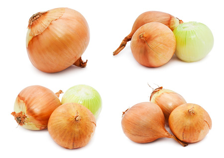 Collection of fresh golden onion isolated on white background