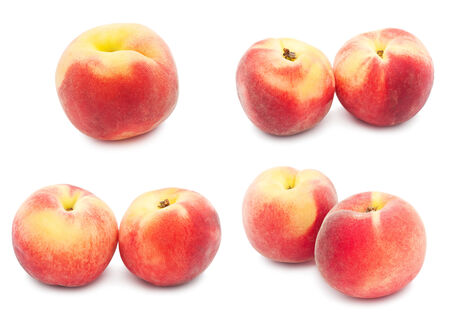 Collection of fresh sweet peaches isolated on white background