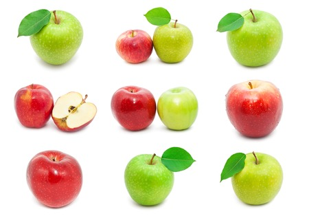 Collection of fresh apples isolated on white background