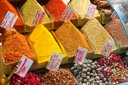 Spices and Herbs at Grand Bazaar, Istanbul. Stock fotó