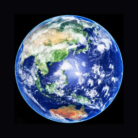 3D model of Earth Globe, Asia, high resolution image