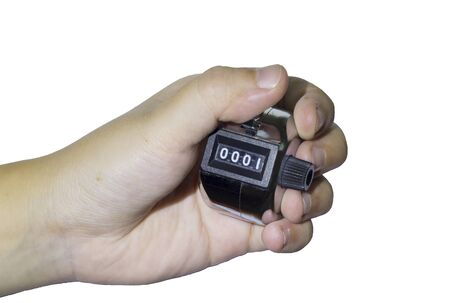 tally: Hand man hold tally counter isolated white background Stock Photo