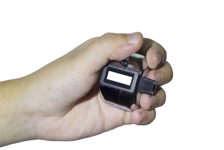 tally: Hand man hold tally counter isolated white background insert number Stock Photo