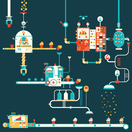 machines: Cupcake factory infographics charts symbols graphic elements Illustration