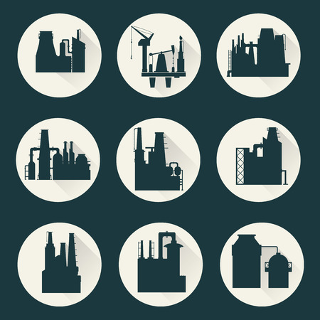 distillery: Icons of a factory for manufacturing products Illustration