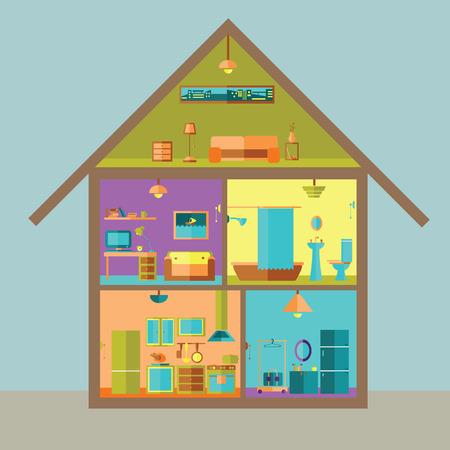 Huis in gesneden. Gedetailleerde modern interieur huis. Kamers met meubilair. Vlakke stijl vector illustratie. Vector Illustratie