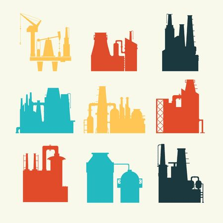 pollutants: Factory for manufacturing products. Flat illustration