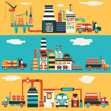 nuclear vector: illustration of Oil production factory