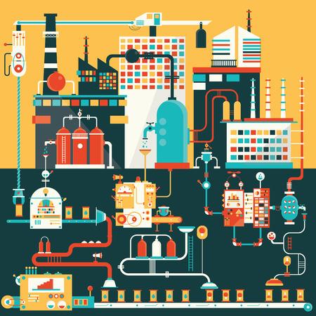 industria petroquimica: Fábrica de productos de fabricación. Ilustración plana