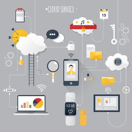 cloud service: Modern vector illustration of cloud service. Stock Photo