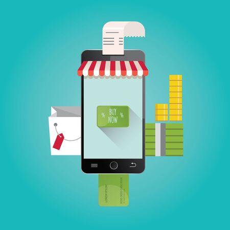 consumer electronics: Modern vector illustration of online shopping. Mobile store.