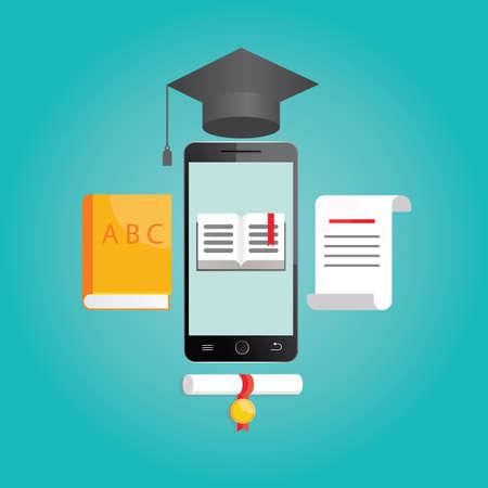 studying: Modern vector illustration of online learning Stock Photo