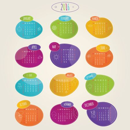 calendar october: Modern vector lillustration of brightness colorful calendar 2016
