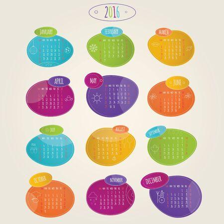 calendrier: Moderne vecteur lillustration de la luminosit� calendrier color� 2016 Banque d'images