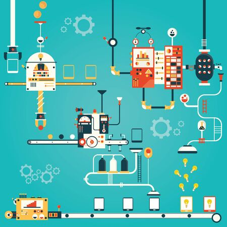 fragile industry: Modern vector illustration of development process for smart phone Stock Photo