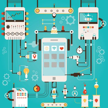 Modern vector illustration of development process for smart phone Stock Photo