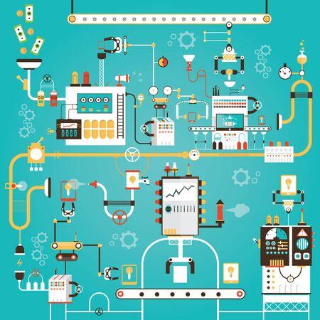 Modern vector illustration of development process for smart phone 스톡 콘텐츠