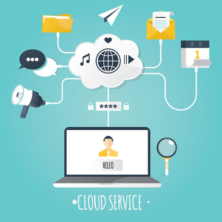 cloud computing technologies: Modern vector illustration of clod servece. Stock Photo