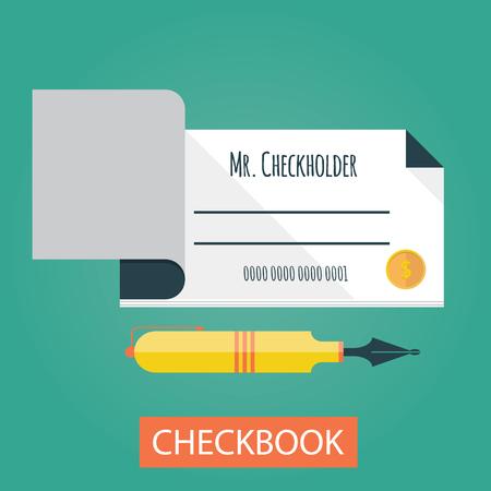 chequera: ilustración vectorial moderna del talonario de cheques. Los pagos por parte del talonario de cheques Vectores