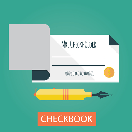 checkbook: Modern vector illustration of checkbook. Payments by checkbook Illustration