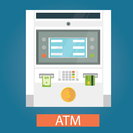 cash machine: Modern vector illustration of ATM machines with coin, credit card and cash