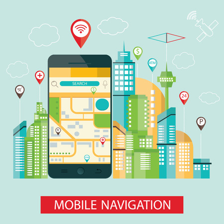 travel phone: modern vector illustration of mibile navigation. Illustration