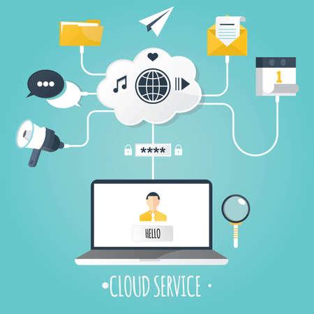 cloud service: Modern vector illustration of cloud service. Illustration
