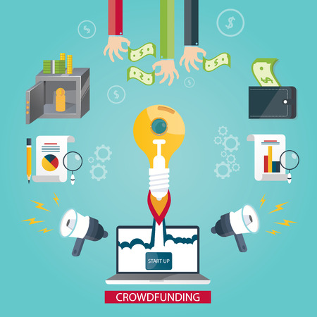initiator: Modern vector illustration of crowdfunding service, new business idea