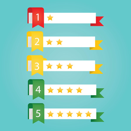 satined: Modern vector illustration of rating service on colorful background