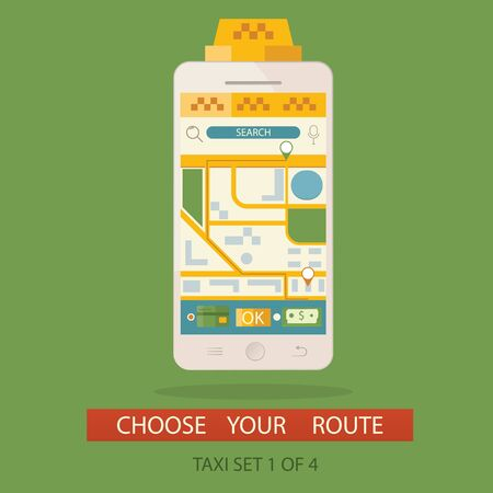 get in touch: Modern vector illustration of concept process booking taxi and creating route via mobile application.  Stock Photo