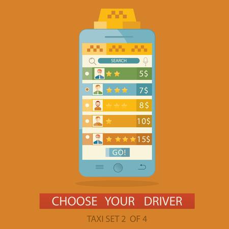 vector illustration of concept process choosing taxi driver via mobile application.
