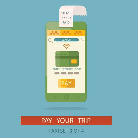 get in touch: vector illustration of concept process paying taxi cab via mobile application by credit card.
