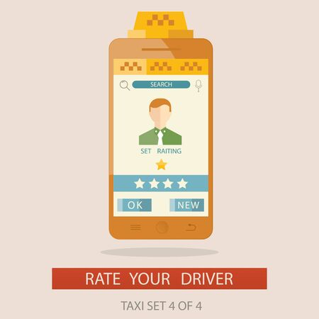 get in touch: Modern vector illustratuion of rating taxi driver via mobile app Stock Photo