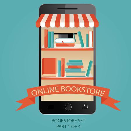scientific literature: vector illustration of online bookstore. E-books.